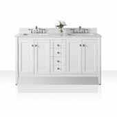 Shelton 60'' Double Sink Bath Vanity in White with Italian Carrara White Marble Vanity top and (2) White Undermount Basins, 60''W x 22''D x 34-1/2''H