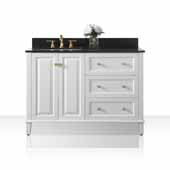 Hannah 48'' Off Centered Left Basin Vanity Set in White with Black Granite Vanity top and Mirror with Gold Hardware, 48''W x 22''D x 34-1/2''H