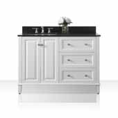 Hannah 48'' Off Centered Left Basin Vanity Set in White with Black Granite Vanity top and Mirror, 48''W x 22''D x 34-1/2''H