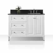 Hannah 48'' Off Centered Right Basin Vanity Set in White with Black Granite Vanity top, 48''W x 22''D x 34-1/2''H