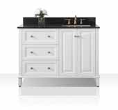 Hannah 48'' Off Centered Right Basin Vanity Set in White with Black Granite Vanity top with Gold Hardware, 48''W x 22''D x 34-1/2''H