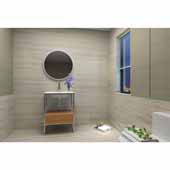 Tory 24'' Bath Vanity in Natural Walnut with White Matte Seamless Solid Surface Sink top and Mirror, 23-3/8''W x 18''D x 33-3/8''H