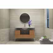 Tory 48'' Bath Vanity in Natural Walnut with White Matte Seamless Solid Surface Sink top and Mirror, 47''W x 18''D x 33-3/8''H