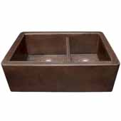 Farmhouse Duet Kitchen Sink In Antique Copper, 33''W X 22''D X 10-1/2''H