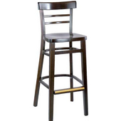 Ladderback Wood Bar Stool with Upholstered Grade 1 Vinyl Seat