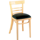 Ladder Back Beechwood Side Chair with Grade 1 Vinyl Uphonstered Seat 15''Wx15''Dx31''H