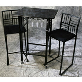 Imitation Marble Dining Set with Chairs in Black
