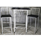 Imitation Marble Dining Set with Chairs with Black Tops and Nickel Frames