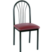 Parlor Black Metal Side Chair with Grade 1 Vinyl Upholstered Seat 18''Wx18''Dx37.5''H