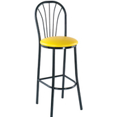 Alston Café Bar Stool with Black Frame and Upholstered Vinyl Seat 30