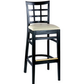 Latticeback Wood Bar Stool with Upholstered Grade 1 Vinyl 24''
