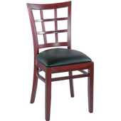 Latticeback Beechwood Side Chair with Vinyl Seat 16''W x16''D x 34''H
