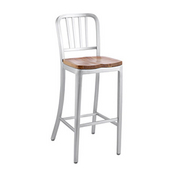 Aluminium  Dining Stool with Upholstered Seat, 15-1/4'' W x 15'' D x 45-1/2'' H, Grade Vinyl 1