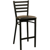 Diana Metal Bar Stool with Upholstered Grade 2 Vinyl Seat and Black Matte Finish