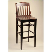 School House Beechwood Bar Stool with Wood Seat, 17''W x 16''D x 44-1/2''H, Black
