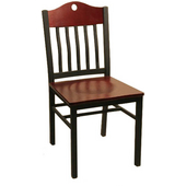 Port Metal Swivel Chair with Mahogany Wood Seat & Back