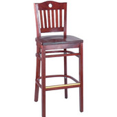 Port Wood Bar Stool with Back, 18''W x 16''D x 45 1/2''H, Cherry