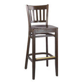 Legacy Slatback Bar Stool with Wood Seat, 17''W x 18''D x 43''H, Natural