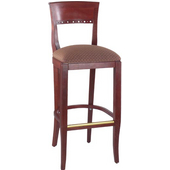 Alston Biedermeier Back Bar Stool with Solid Wood Frame and Upholstered Grade 1 Vinyl
