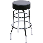 Alston Double Ring Bar Stool with Chrome Frame and Upholstered Grade 1 Vinyl Seat