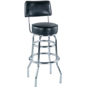 Alston Double Ring Bar Stool with Chrome Frame and Upholstered Graded 1 Vinyl Seat and Back