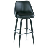 Bucket Bar Stool with Crossover Base Frame, 18-1/2''W x 19''D x 40-1/2''H, Black