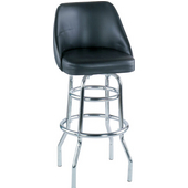 Alston Bucket Seat Bar Stool with Double Ring Chrome Frame and Grade 1 Vinyl Seat