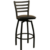 Empress Textured Black Metal Bar Stool with Foot Rail and Upholstered Grade 1 Vinyl Swivel Seat