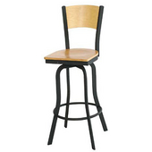 Cardinal Textured Black Metal Bar Stool with Foot Rail and Mahogany Wood Back and Swivel Seat