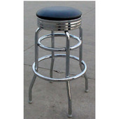 - Backless Chrome Bar Stool, 14'' Dia x 30'' H