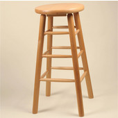 Solid Wood Backless Bar Stool, 30'' Bar Height, Mahogany