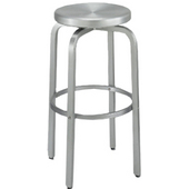 Paula Bar Stool with Brushed Aluminum Swivel Seat 24''