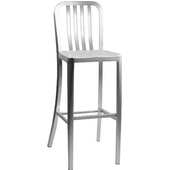 Aluminum Dining Stool with Rail Back and Molded Seat 24''