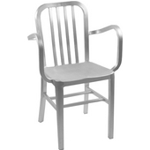 Brushed Aluminum Dining Armchair with Molded Seat, 22'' W x 15'' D x 33'' H