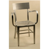 Melanie Brushed Aluminum Armchair with Molded Seat 15-1/4''Wx15''Dx33-3/4''H (arms-22)