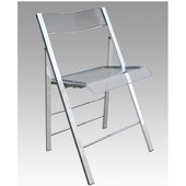 - Lucite Folding Chairs - Set of 2, 18'' Seat Height, Orange
