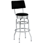 Chrome Bar Stool w/ Black Vinyl Seat & Back