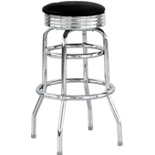 Backless Chrome Swivel Bar Stool w/ Vinyl Cushion