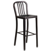 Galvanized Steel 30'' Bar Stool - Black Antique Gold, 15-1/2'W x 20'D x 43'H