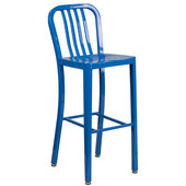 Galvanized Steel 30'' Bar Stool - Blue, 15-1/2'W x 20'D x 43'H