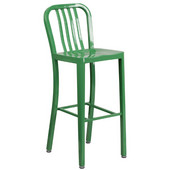 Galvanized Steel 30'' Bar Stool - Green, 15-1/2'W x 20'D x 43'H
