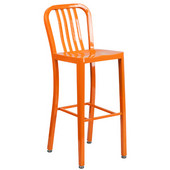 Galvanized Steel 30'' Bar Stool - Orange, 15-1/2'W x 20'D x 43'H