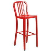 Galvanized Steel 30'' Bar Stool - Red, 15-1/2'W x 20'D x 43'H