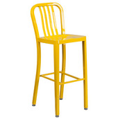 Galvanized Steel 30'' Bar Stool - Yellow, 15-1/2'W x 20'D x 43'H