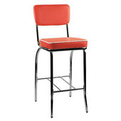 Retro Dining Bar Stool with Chrome Frame and Vinyl Seat and Back, 24'' Counter Height, Red