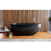 Spoon 2 Egg Shaped Freestanding Solid Surface Bathtub, Matte Black, 66-1/4'' W x 35-1/4'' D x 22-1/2'' H