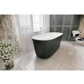 PureScape AquateX™ Freestanding Oval Solid Surface Bathtub, Matte Black Outside, White Inside, 60-5/8'' W x 27-1/2'' D x 24-3/4'' H