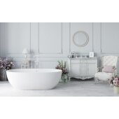 PureScape AquateX™ Corelia Freestanding Oval Solid Surface Bathtub, Matte White, 66-1/2'' W x 34-1/4'' D x 20-3/4'' H