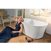 Tulip-Wht™ Freestanding Solid Surface Unique-Shaped Bathtub, Matte White, 62-1/4'' W x 28-1/4'' D x 23-3/4'' H