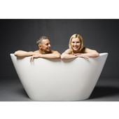 PureScape AquateX™ Freestanding Oval Solid Surface Bathtub, Matte White, 61-1/4'' W x 33-3/4'' D x 28-3/4'' H